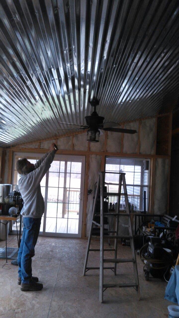 Metal ceiling in a sunroom.