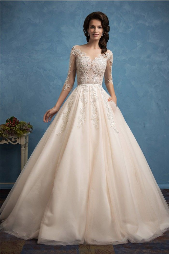 Ball Gown Illusion Neckline Champagne Tulle Lace Beaded Wedding ...