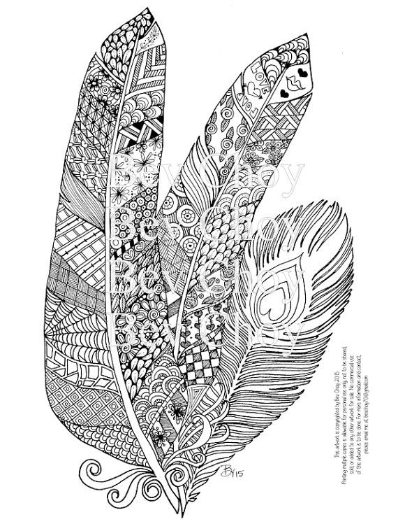 Adult coloring page three feathers by bevchoyart on etsy for Coloring pages of feathers