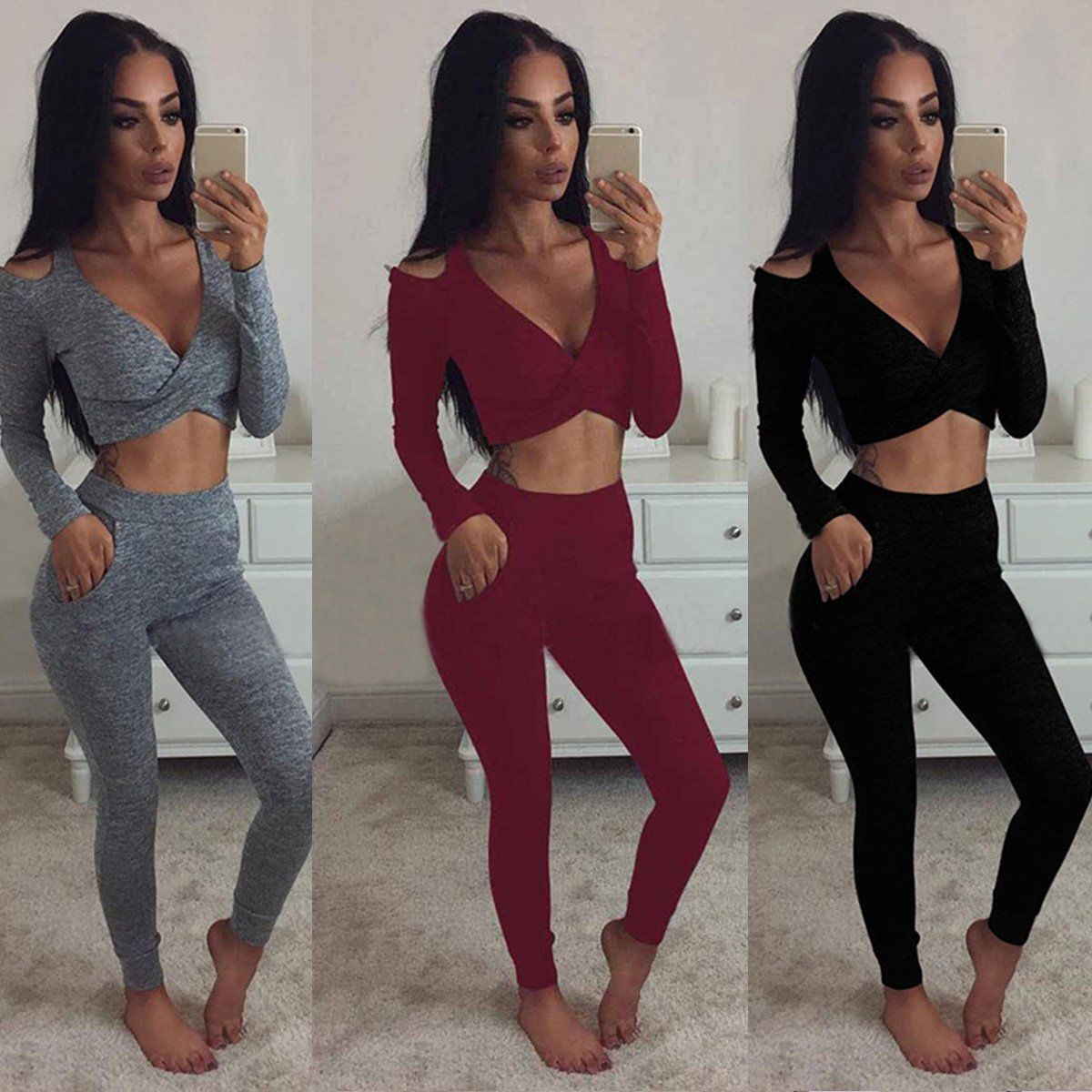 3c1b6269cbc6 2PCS Set Women Sports Suit Crop Top Pants Outfit Yoga Workout ...