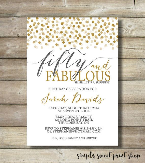 Fifty And Fabulous Birthday Invitation Any Age 50 Fabulous Fifty