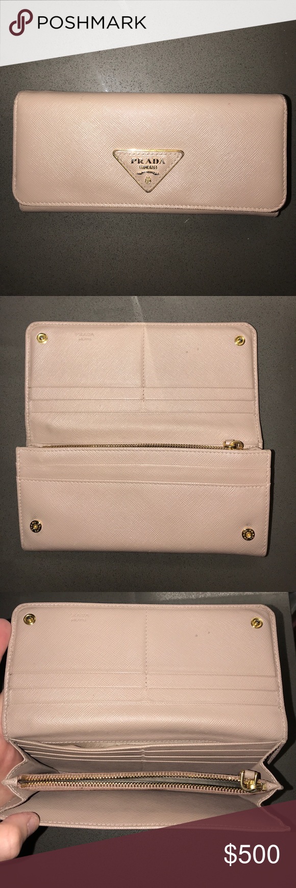 1589f962e25304 AUTHENTIC Prada Saffiano Triangle Wallet (receipt) Good Condition AUTHENTIC  WITH RECEIPT Prada Wallet.