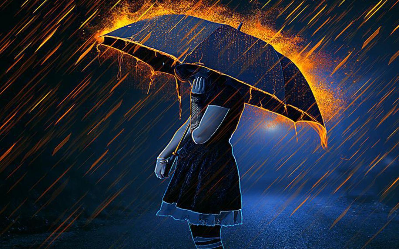 Anime Women Women Girl Umbrella Fire Rain