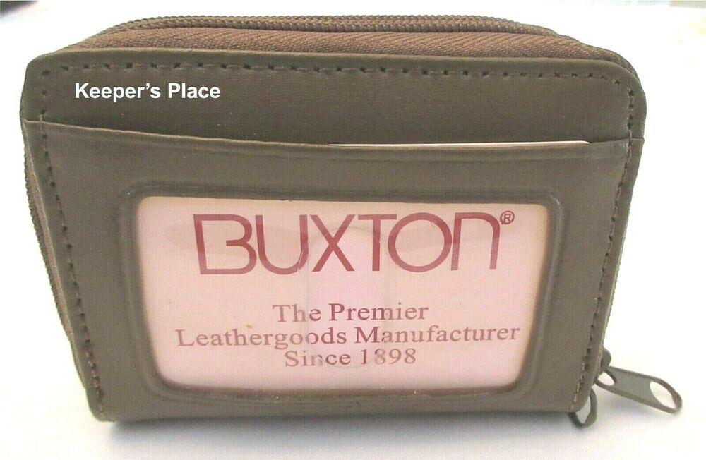 Buxton Leather Wallet Credit Card Id Holder Double Zipper Brown Brand New Buxton Unique Items Products Buxton Leathergoods