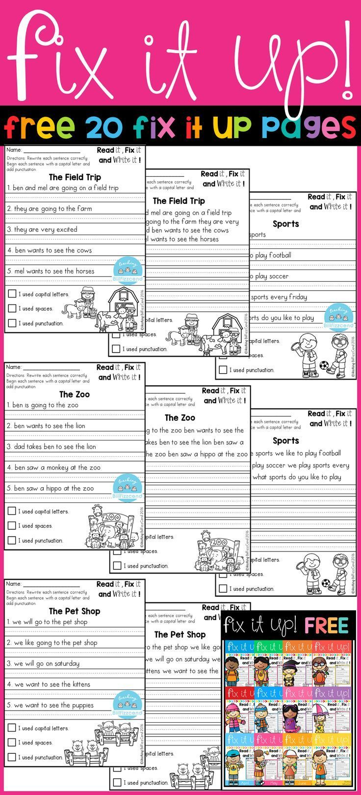 Free 20 fix it up pages. These are great for students in ...
