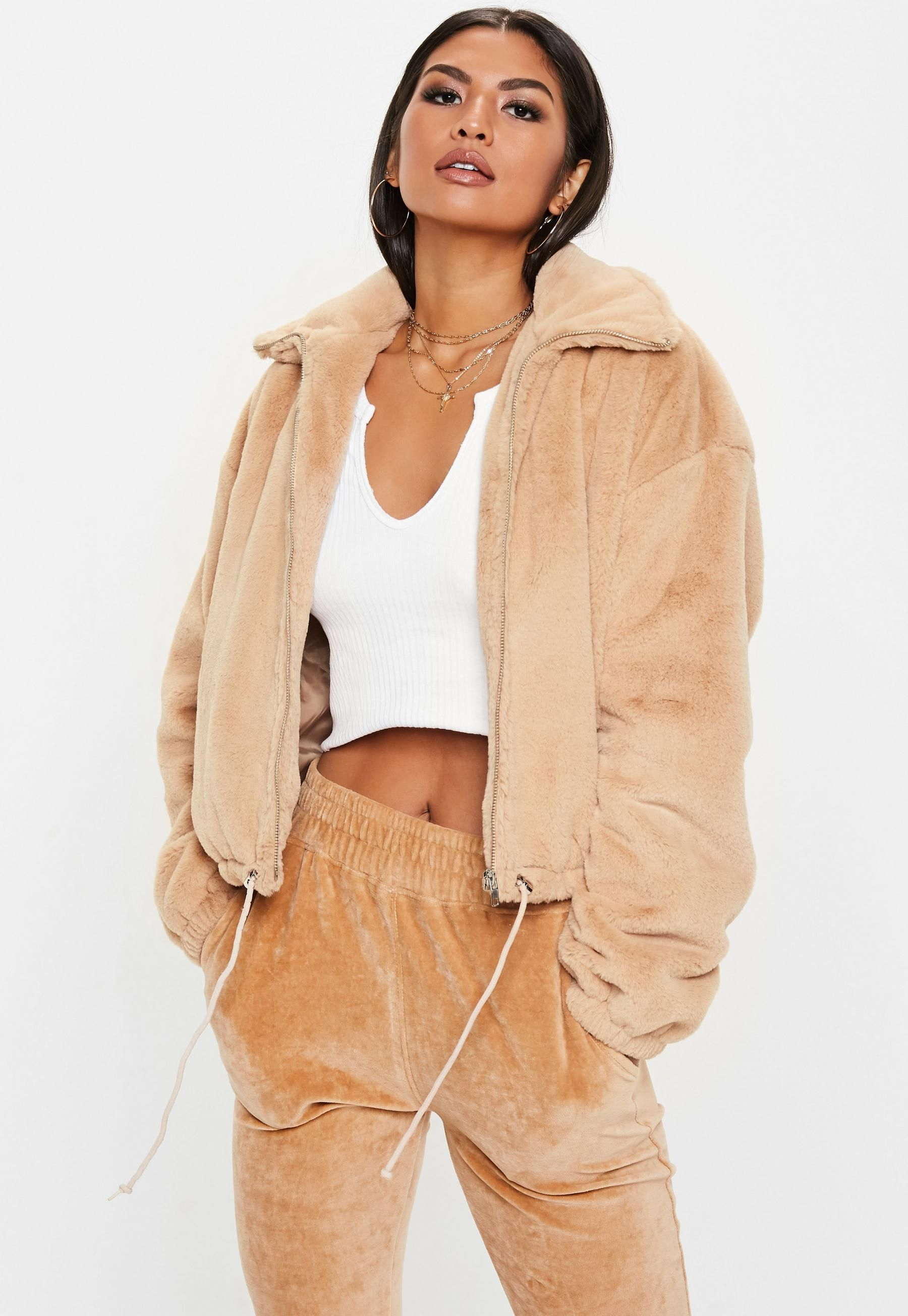 3852c6f86 Missguided Camel Cropped Faux Fur Bomber Jacket | Fashion ...