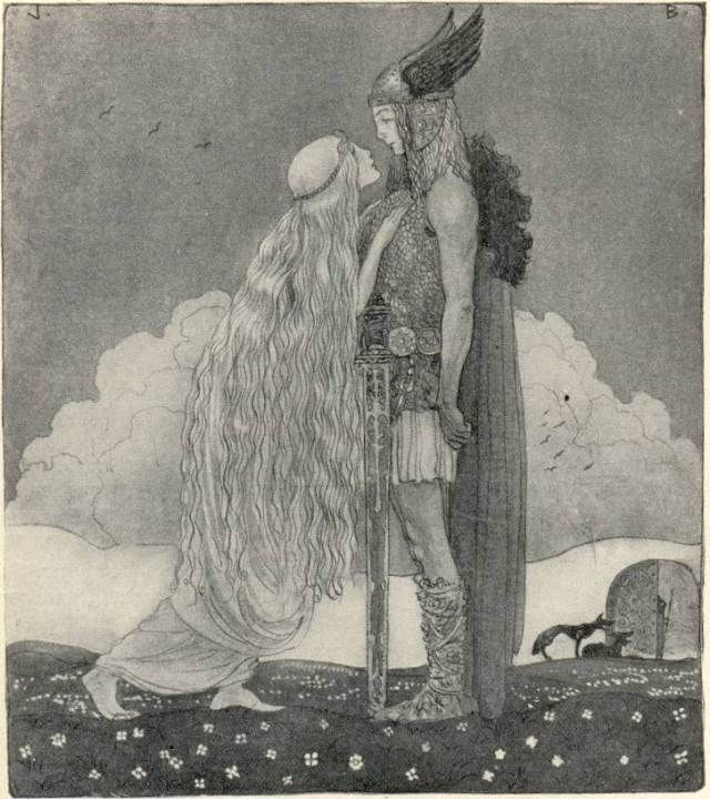 "Svipdagr (Old Norse ""sudden day"") is the hero of the two Old Norse Eddaic poems Grógaldr and Fjölsvinnsmál, which are contained within the body of one work; Svipdagsmál. Svipdagr is set a task by his stepmother, to meet the goddess Menglöð, who is his ""fated bride."" In order to accomplish this seemingly impossible task, he summons by necromancy the shade of his dead mother, Gróa, a völva who also appears in the Prose Edda, to cast nine spells for him. This she does."