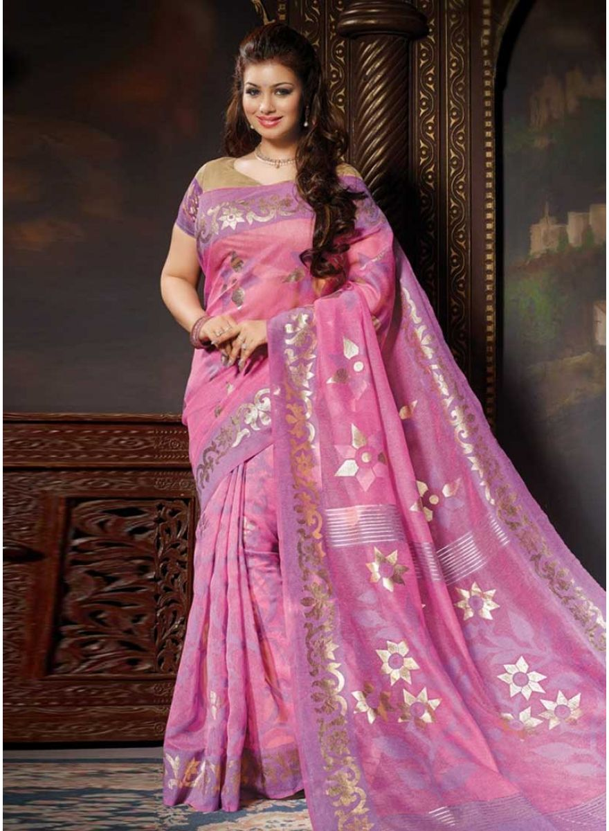 Blooming Hot Pink Silk Designer With Printed Party Wear Saree. Buy ...