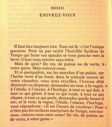 Xxxiii Enivrez Vous Le Spleen De Paris Petits Poemes En