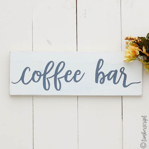 coffee sign decor distressed white sign coffee by timberscript - Distressed Cafe Decor