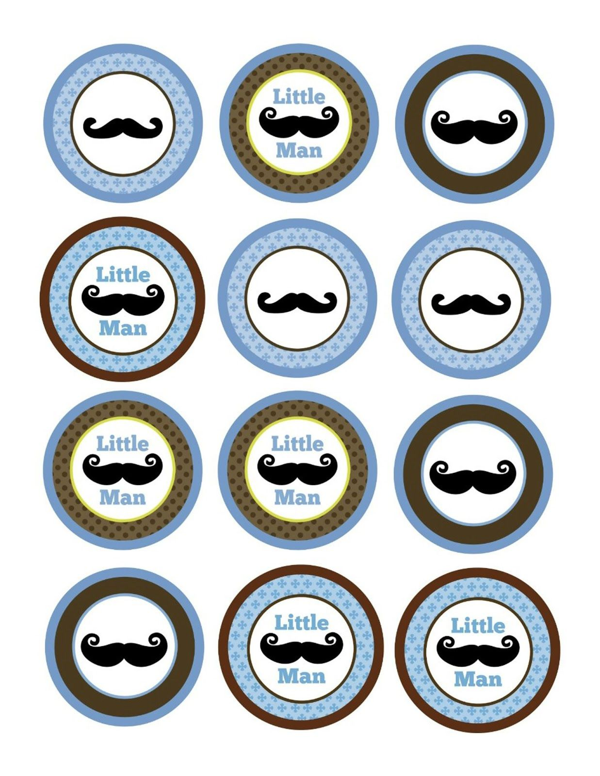 Mustache Cupcake Toppers Baby Boy Scrapbooking