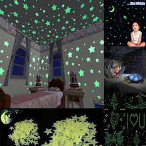 100pcs Etoiles Stickers Muraux Fluorescence Autocollant pour Chambre d/'enfants
