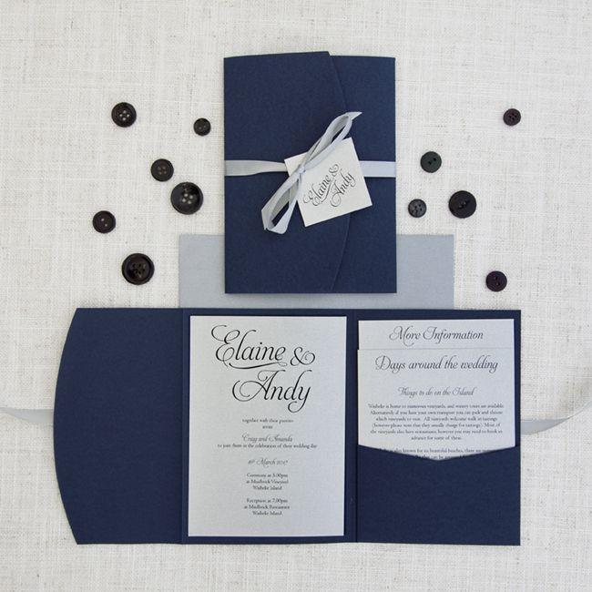 Navy Blue Wedding Invitations Modern: Navy Blue & Silver Pocketfold Wedding Invitation In 2019