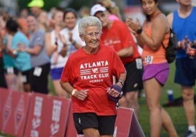 91 year old Betty Lindenberg broke the world record in the 800m for women 90 years old at the All Corners Track & Field  via @atlantatrackclub