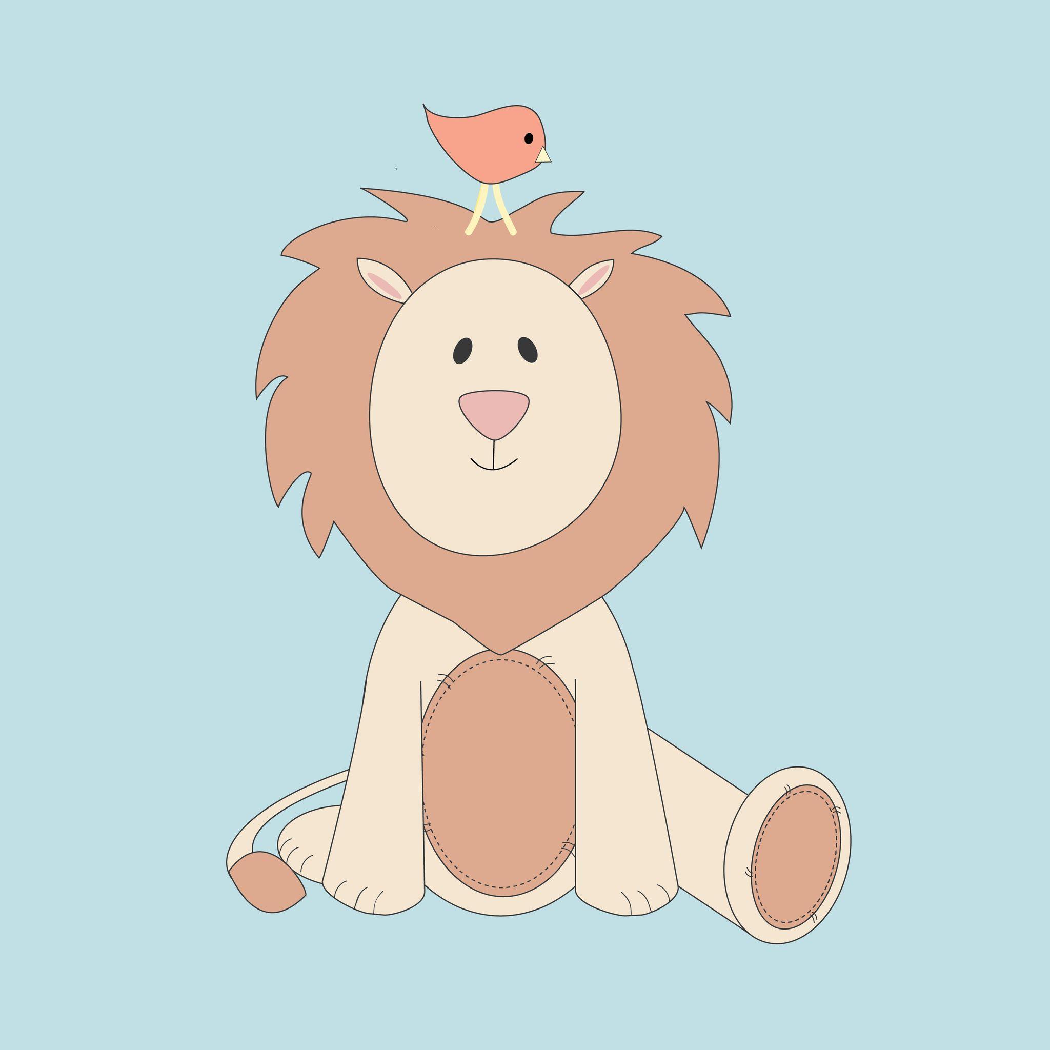 Lion and Bird Nursery Print