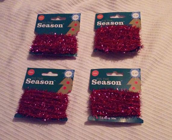 Lot bright red miniature tinsel garland christmas crafts trees