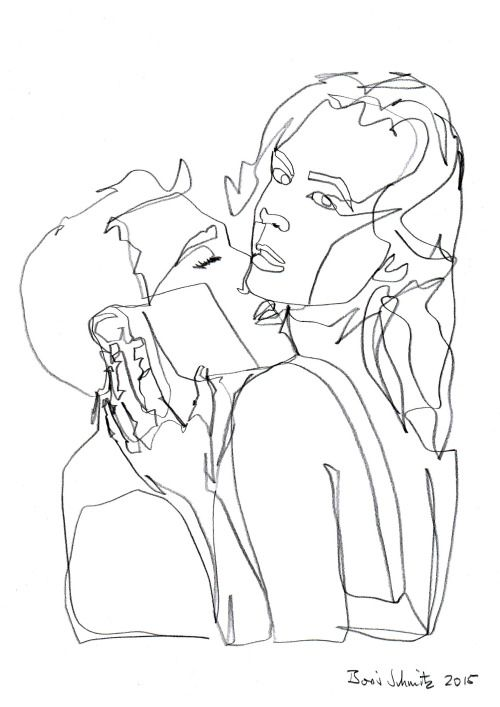 "Continuous Line Drawing Tumblr : ""kiss ″ one continuous line drawing by boris schmitz"
