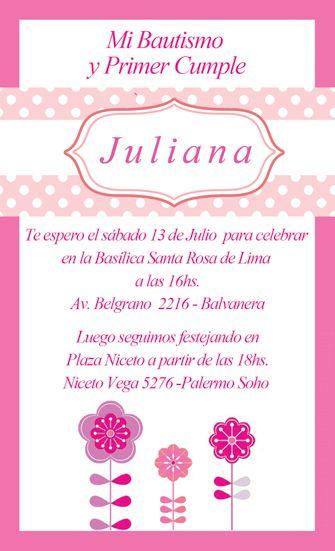 Invitación Bautismo Cumpleaños Invitaciones Bautizo