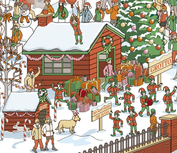 Can You Find The Hidden Claus Christmas Card On Illustration Served Corporate Christmas Cards Christmas Cards Christmas Scene