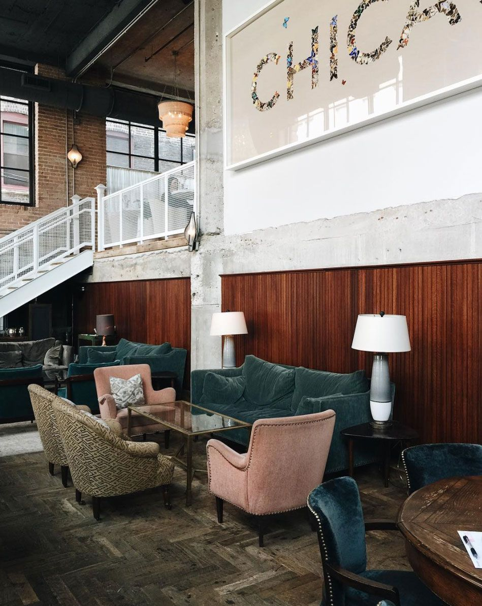 Pink And Blue Velvet Furniture Inside The Allis In Chicago. / Sfgirlbybay