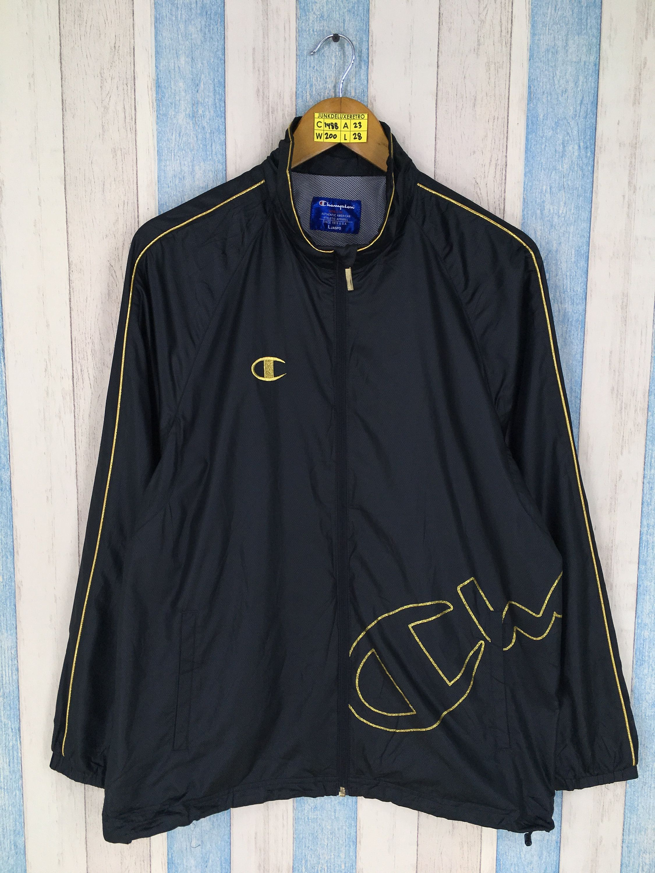 95222d3d5fdc Vintage CHAMPION Jacket Windbreaker Large 1990 s Champion Usa Sportswear  Champion Spell Out Windrunner Black Training Jacket Size L by  JunkDeluxeRetro on ...