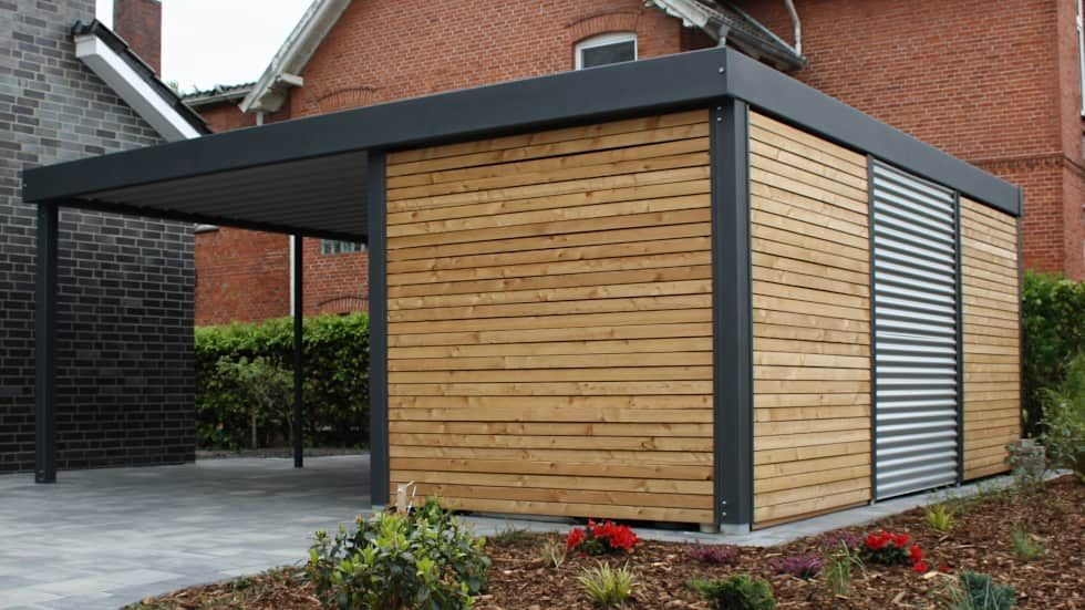 Hausbau ideen mit garage  Fertiggarage Bilder: Metallcarport | Hausfassaden, Hobbyraum und ...