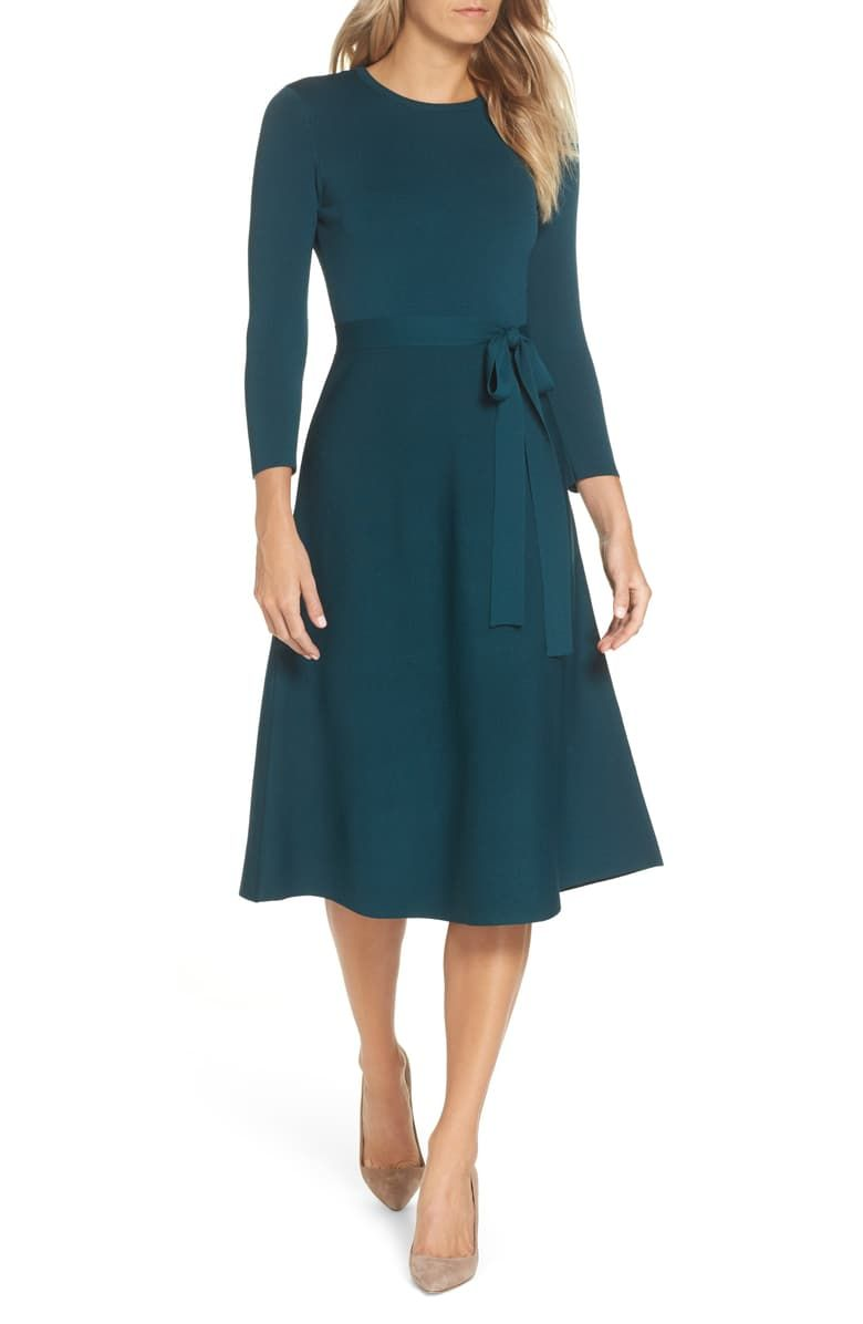 Eliza J Fit Flare Sweater Dress Nordstrom In 2021 Dresses To Wear To A Wedding Fall Wedding Outfits Fall Wedding Guest Dress [ 1196 x 780 Pixel ]
