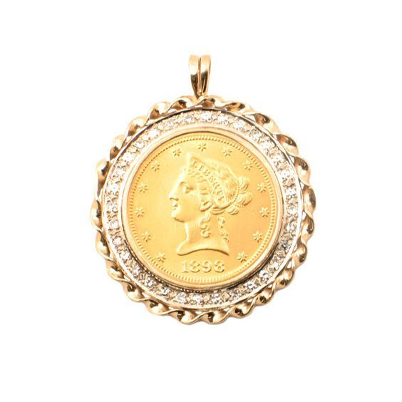 1898 Liberty 10 Dollar Gold Coin Pendant With 32 Diamond Bezel Over 1 1 4 Ctw Diamonds In 14k Gold Bezel 1 7 8 Gold Coin Jewelry Coin Jewelry Gold Coins