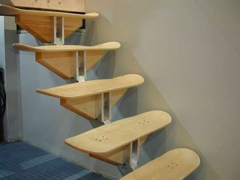Useful Products Made From Repurposed Skateboards | Stairs made from skateboard  decks