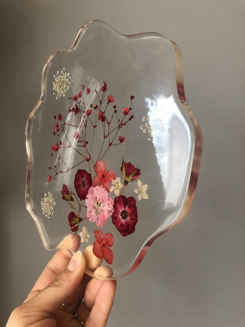 Red White and Pink Wild Flowers in Clear Epoxy Res