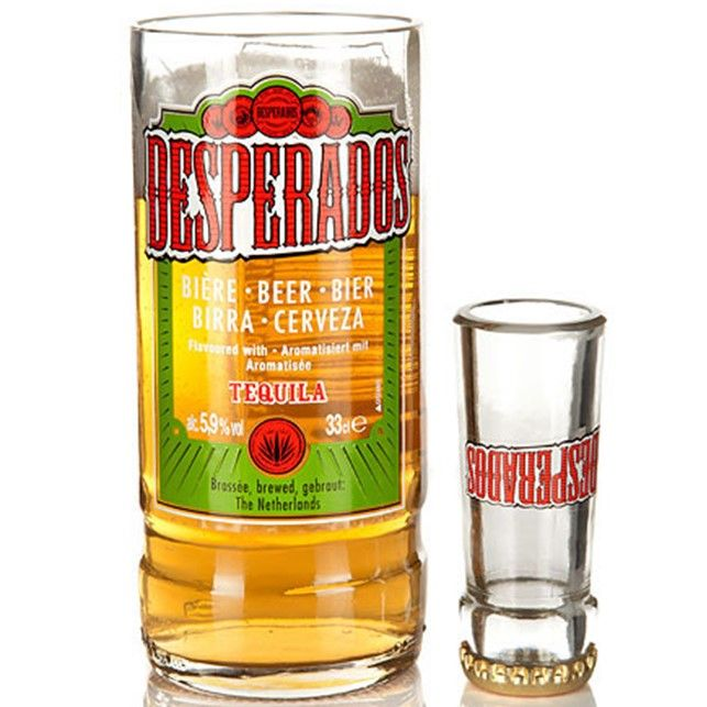 Recycled Desperados Mexican Beer Bottle Glass Shot