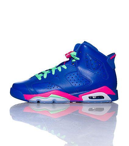 Girls Air Jordan 6 Retro GS Game RoyalWhiteVivid PinkLight Lucid Green For Sale