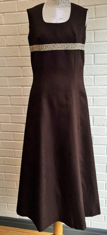 Us evening maxi dress dark brown with metallic silver detail