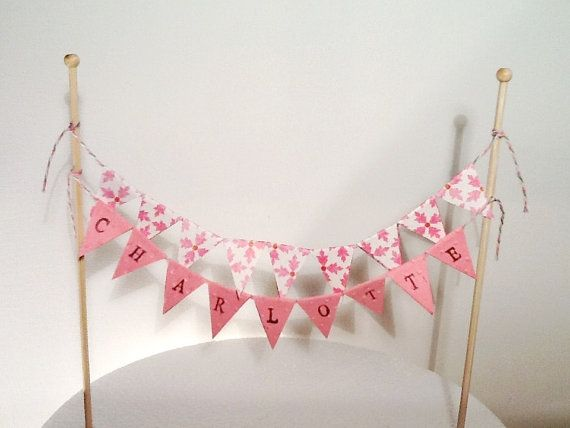 Cake Bunting/Cake Topper Double String of Flags Personalised With Name of Choice on Etsy, $14.54