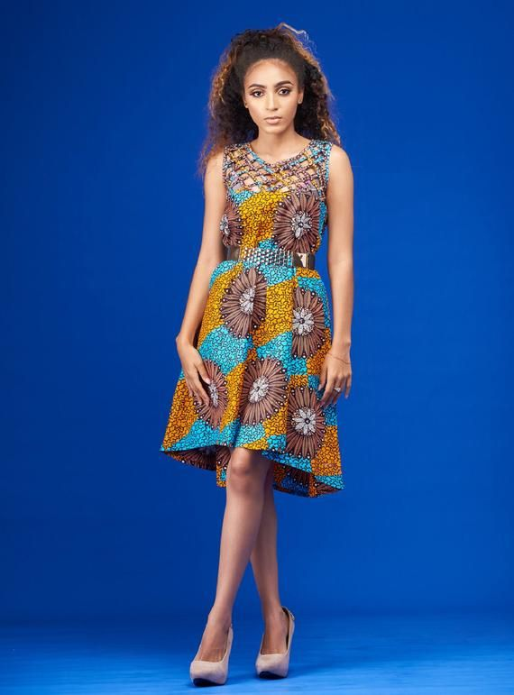 Madiva African Print Dress/ African clothing/African print midi dress/ African print prom dress/Anka #africanprintdresses