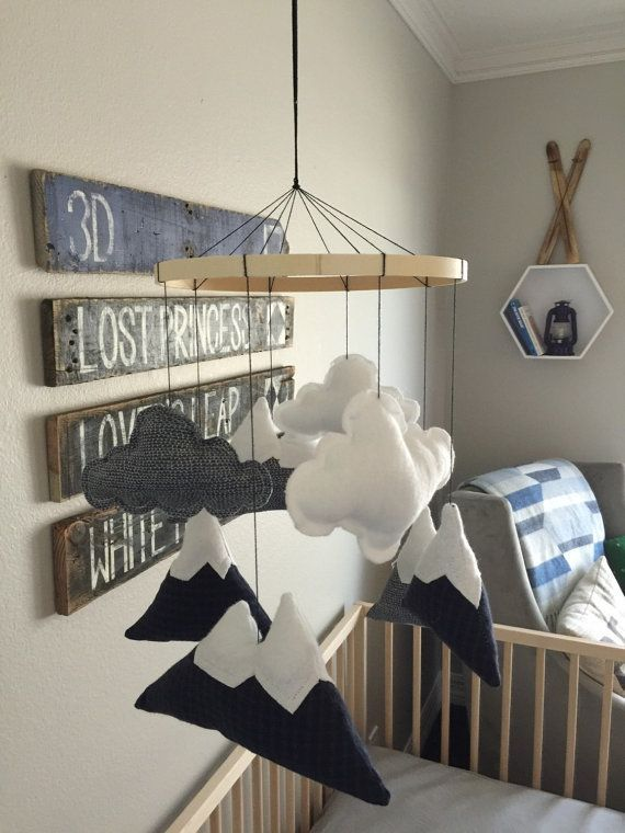 Mountain Mobile In Black And Blue Plaid Waves White Flannel Clouds