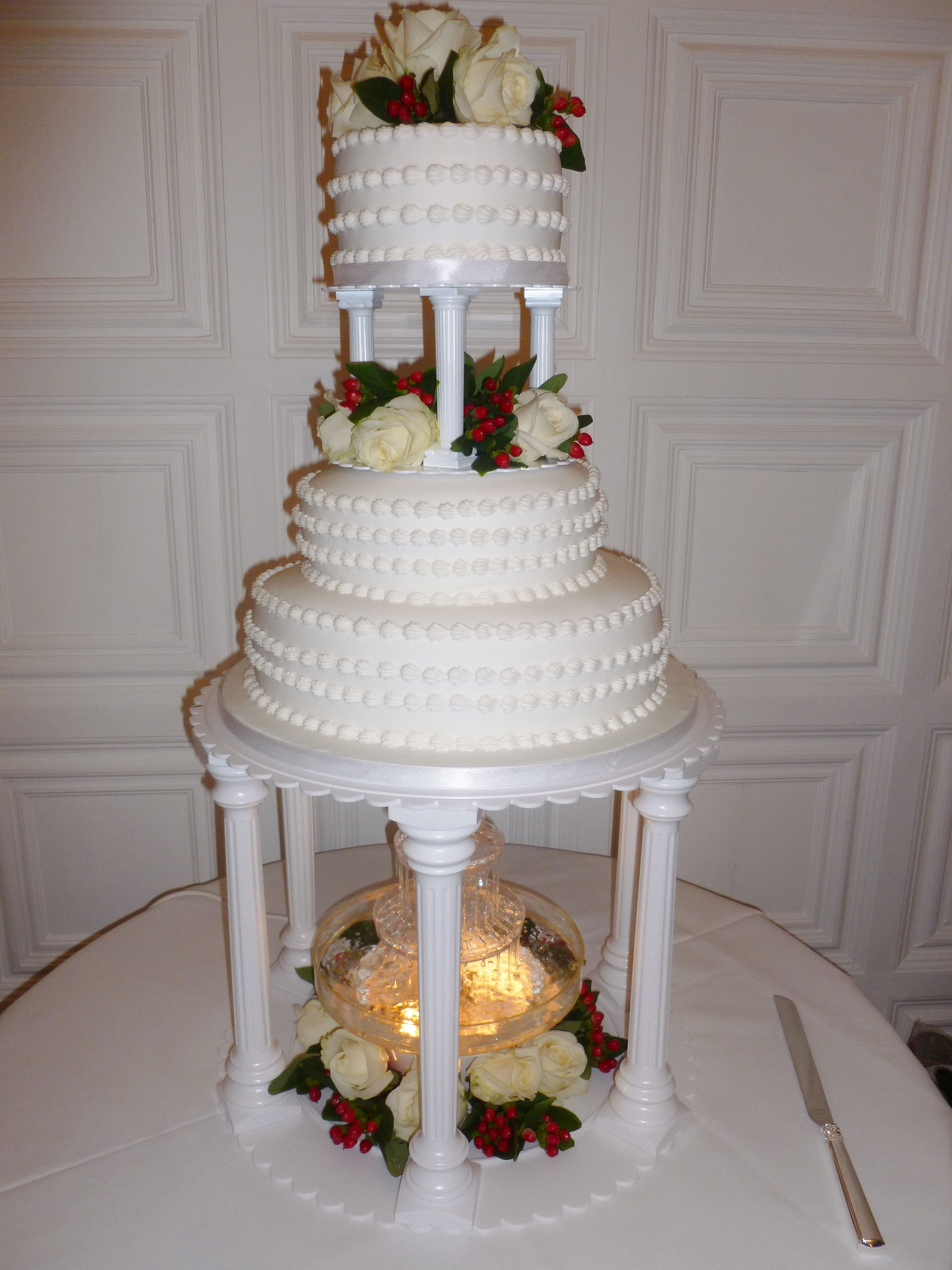 3 Tiered Iced Wedding Cake Using Wilton Color Glow Water Fountain Quite Lovely And Ornate