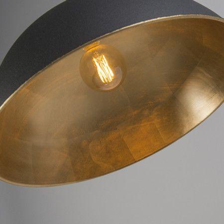 Landelijke ronde hanglamp 50cm zwart met gouden binnenkant