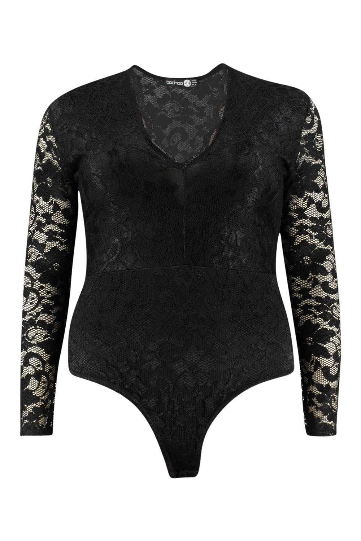 Lace bodysuit boohoo  Plus Molly Lace Long Sleeved Bodysuit  Boohoo Bodysuit and Curves