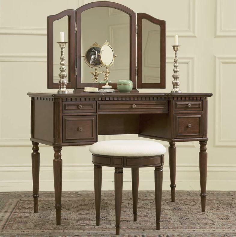 Tri-Fold Mirror Vanity Set Makeup Dressing Table Stool 5 Drawers