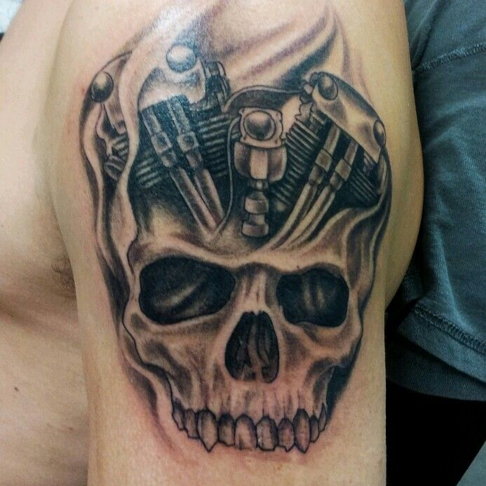 Motorcycle Engine With Skull Skull Hand Tattoo Biker Tattoos Sleeve Tattoos