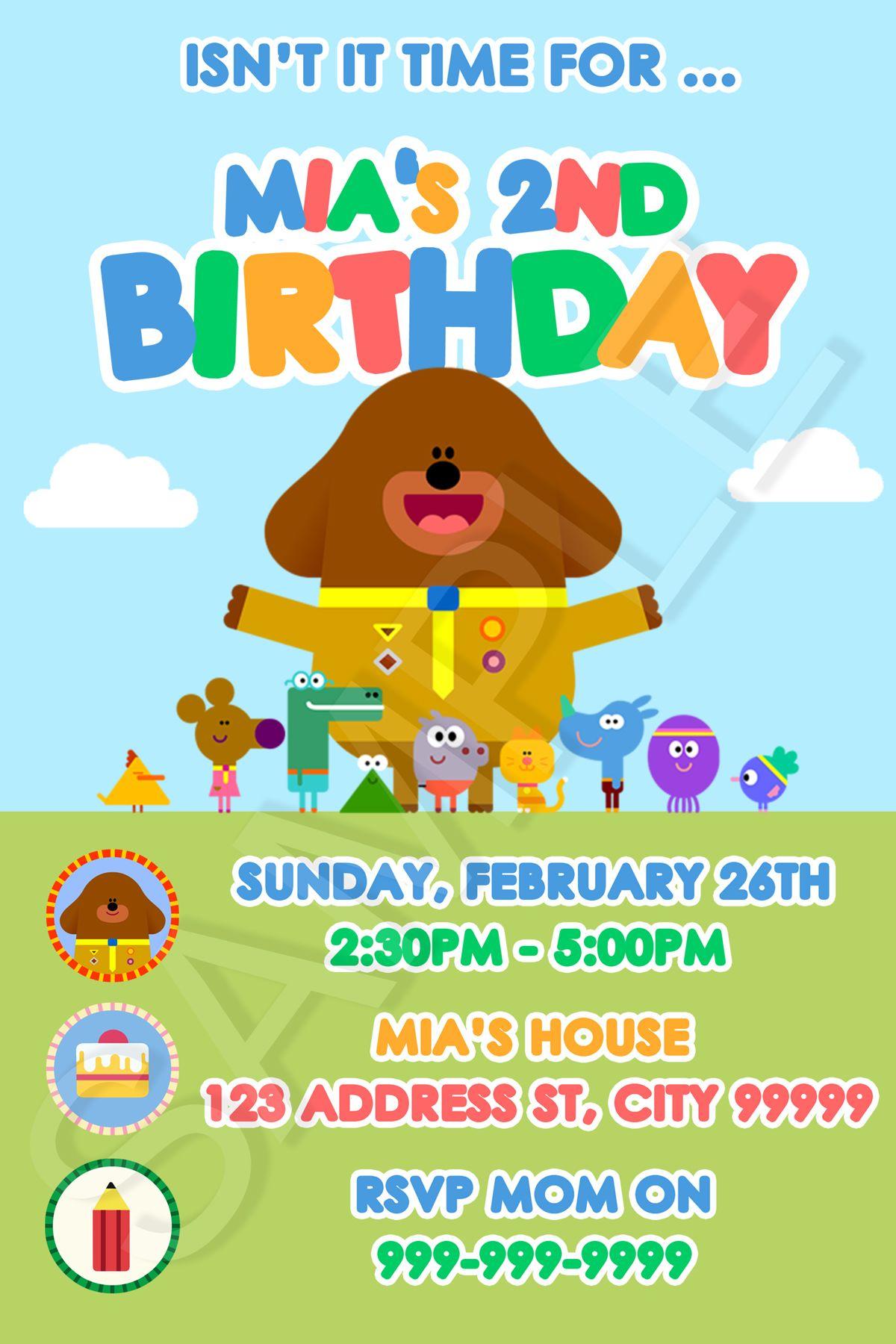 HEY DUGGEE DUGGIE BIRTHDAY PARTY INVITE INVITATION PRINTABLE ...