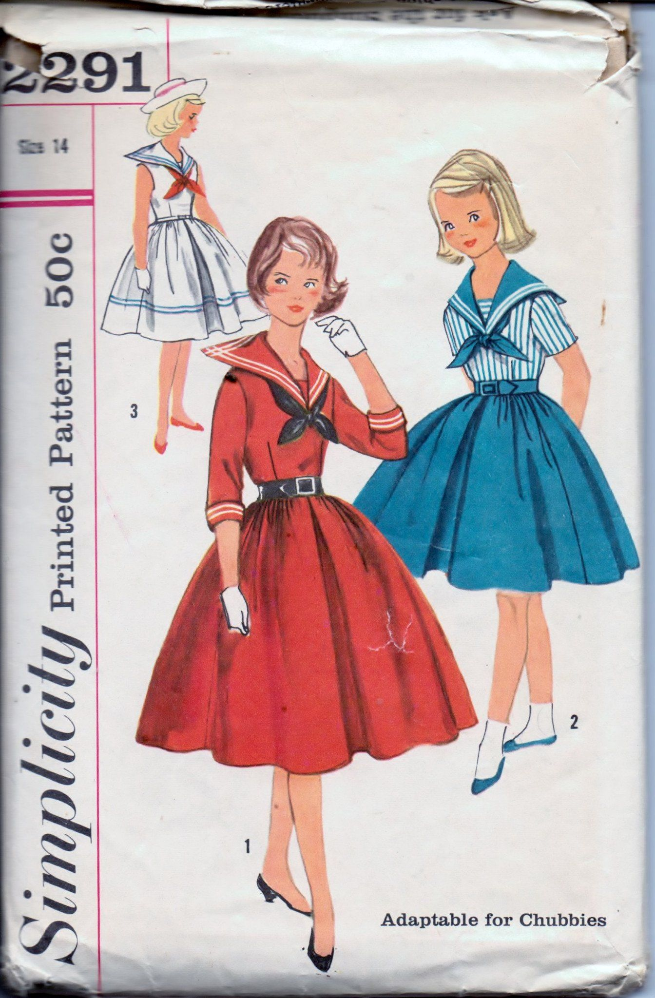 Simplicity young girls sailor middy dress with tie vintage