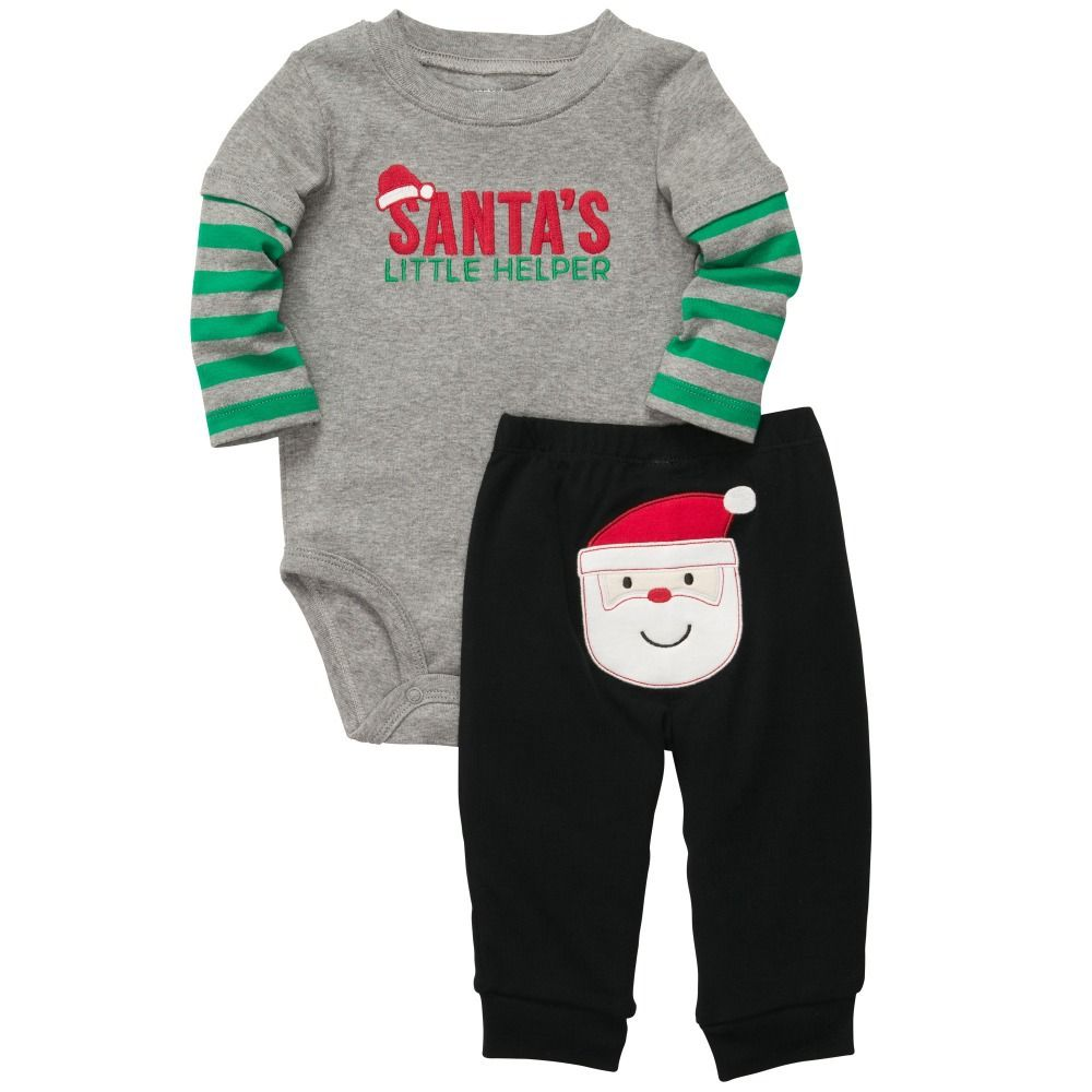 ee94376e3b6 Carter s Baby Boys Christmas Bodysuit Pant Set This easy outfit so adorable  for his first Christmas. Set includes long-sleeve bodysuit and