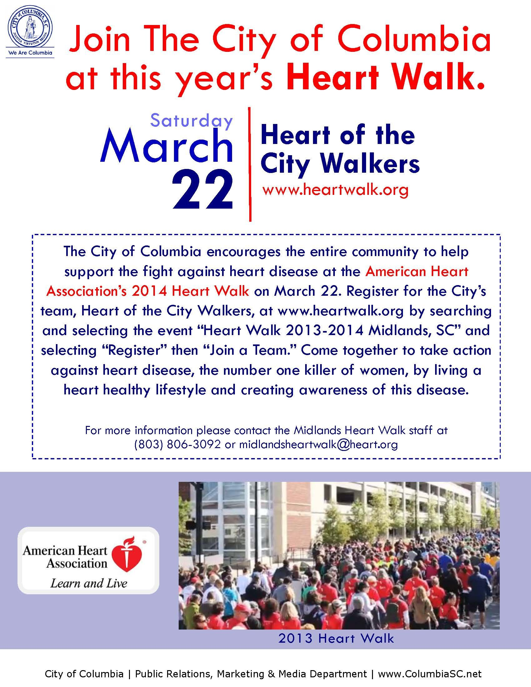 Register for the City's team, Heart of The City Walkers, at this year's Heart Walk on Sat. March 22 at http://bit.ly/1d6SzkE