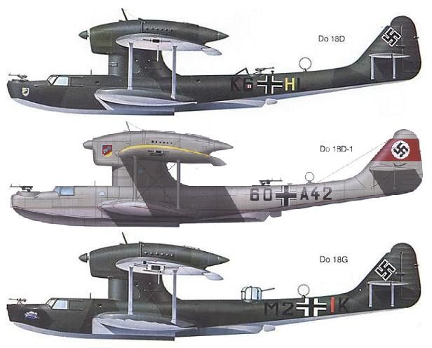 Dornier Do 18D, 18 D-1 and 18G flying boat paint schemes.