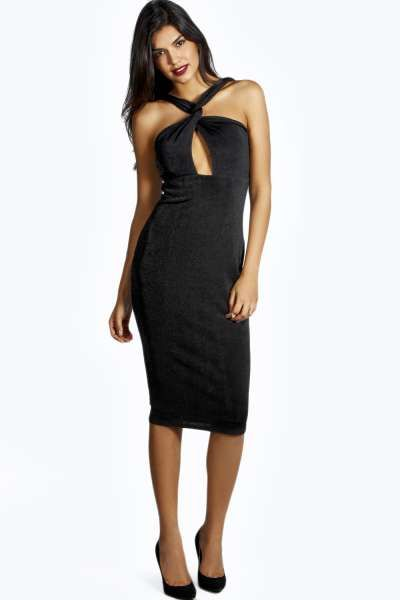 aa364a4ccb5f Natalie Crossover Slinky Midi Dress at boohoo.com Long Sleeve Midi Dress, Plunging  Neckline
