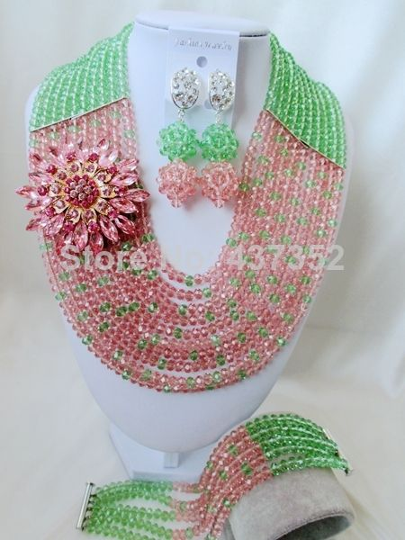 Pretty Light Green Peach Color Crystal Costume Necklaces Nigerian Wedding African Beads Jewelry Sets Free shipping NC978 $48.17