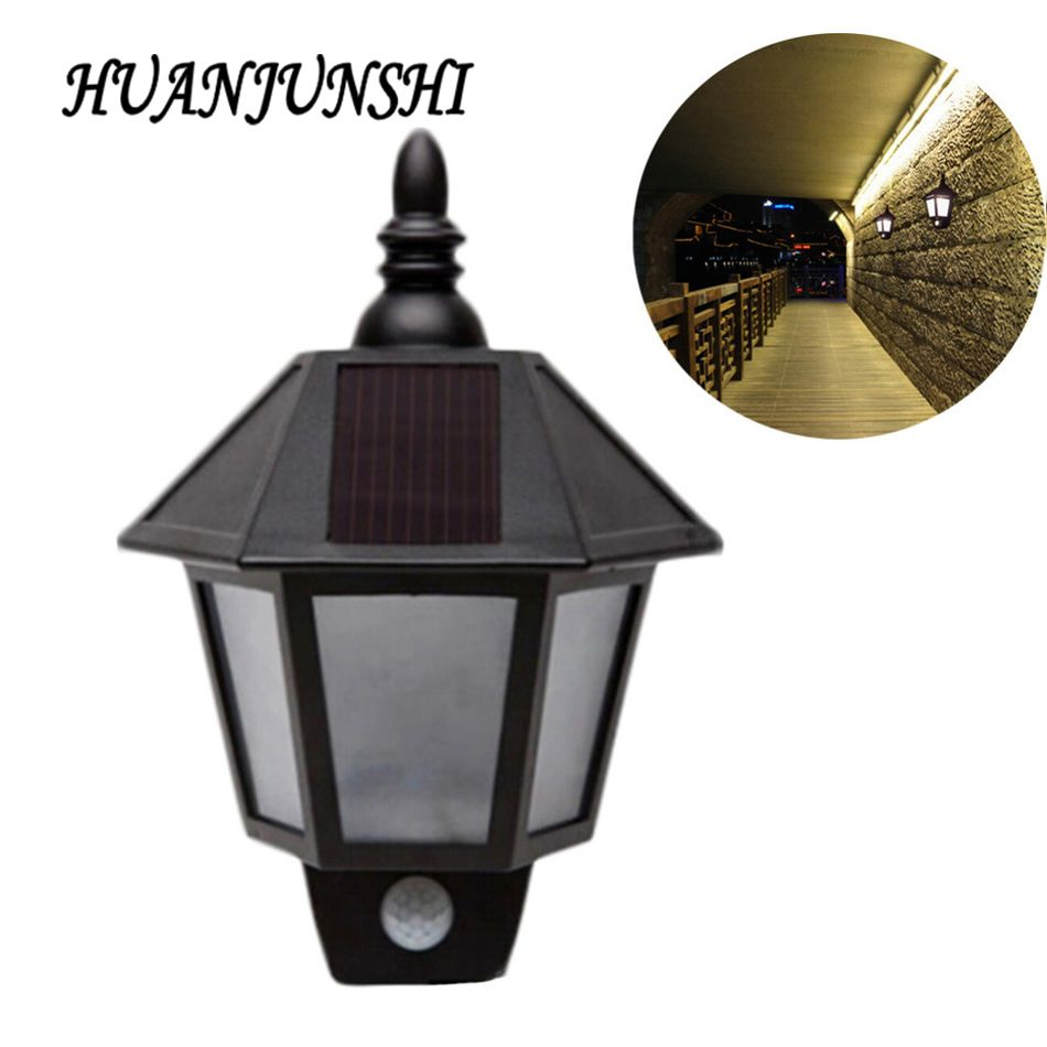 Xcm pir motion detector door wall light led solar lamp