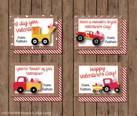 Boy Valentine Cards - PRINTABLE - Construction - Monster ...